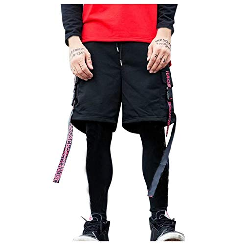 Mymyguoe Marken Badehose für Herren Jungen Sporthose kurz Sport Herren Herren Shorts Kurze Hose Taschen Männer Running Fitness Gym Sport Shorts mit Kordelzug Training Shorts[Rot,XXL]