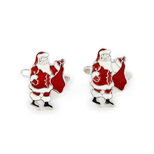SODIAL(R) Santa-Pattern Cufflinks Father Christmas Cufflinks Men's Cuff Links Christmas Xmas Gift
