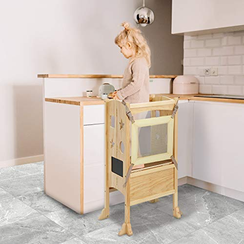 KINGSO Kitchen Helper Stool for Kids, Learning Tower for Toddlers, Toddler Safety Cooking Tower with Keeper, Non-Slip Mat and Write-on Wipe-Off Message Boards, Adjustable Height