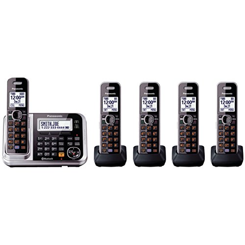 Panasonic Bluetooth Cordless Phone KX-TG7875S Link2Cell with Enhanced Noise Reduction & Digital Answering Machine – 5 Handsets (Black/Silver) for $85