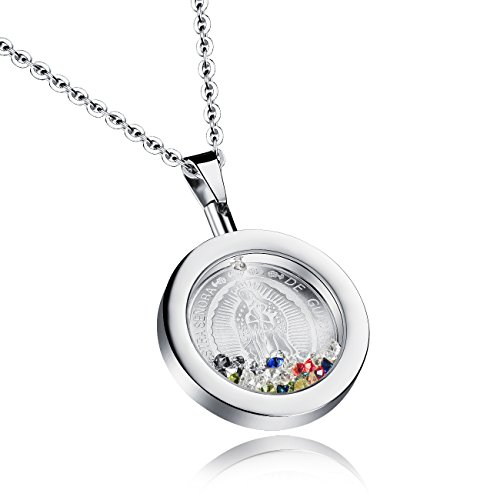 Mishow Stainless Steel Rhinestone Our Lady of Guadalupe Virgin Mary Round Pendant Necklace for Women