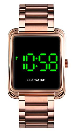 Reloj de pulsera digital para mujer de oro rosa, de acero inoxidable, elegante, para...