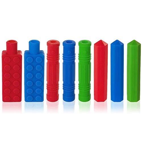 8 Packungen Bleistift Topper für Kinder, ANSUG Silicone Therapy Toys Ungiftiges sensorisches Kauspielzeug für Kinder für besondere Bedürfnisse, Beißhilfe, Angst