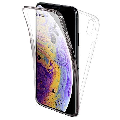 """TBOC Funda para Apple iPhone X - iPhone XS (5.8"""") - Carcasa [Transparente] Completa [Silicona TPU] Doble Cara [360 Grados] Protección Integral Total Delantera Trasera Lateral Móvil Resistente Golpes"""