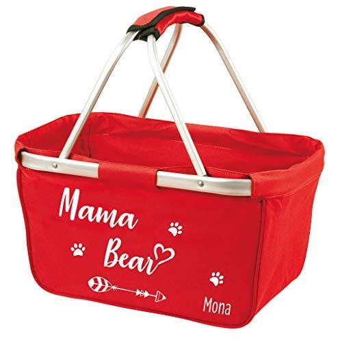 Mein Zwergenland Faltbarer Einkaufskorb mit Namen Mama BAER, 28 L, rot