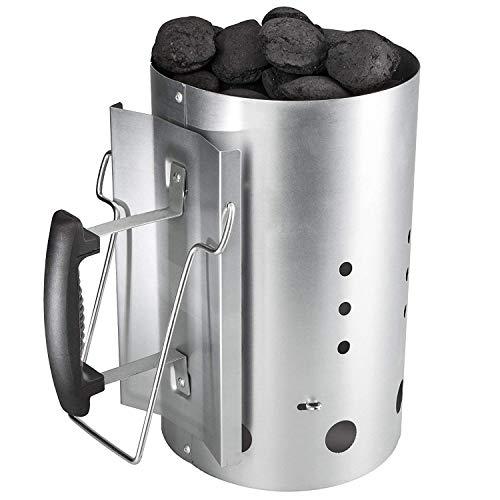 GFTIME XL Kohle Anzündkamin für Weber 7416 Holzkohlegrill zubehör Grillkamin Anzünder, Grillkohleanzünder, Feuerkohleanzünder, Brennstarter, Brennsäule mit Sicherheitsgriff Silber Grillstarter