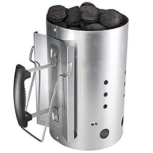 GFTIME Arrancador de Chimenea Carbón briquetas de combustión con Mango de Seguridad para Weber 7416, Encendedor de carbón de 30 x19 cm de Inicio rápido para Acampar y Asar a la Parrilla, 20 Minutos.