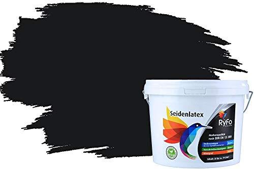 RyFo Colors Seidenlatex Trend Grautöne Schwarz 3l - bunte Innenfarbe, weitere Grau Farbtöne und Größen erhältlich, Deckkraft Klasse 1