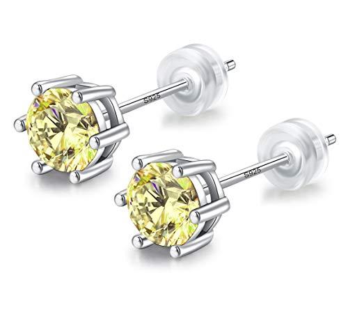 084 6mm Dames Oorstekers Wit Goud verguld 925 Sterling Zilver Gemaakt Geel Diamant, Oorbel Stud met Geschenkdoos, Mannen Vrouwen