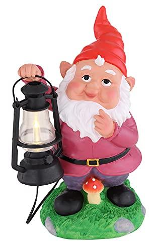 LED Solar Außenlampe Zwerg mit Laterne aus Kunststoff – Gartenzwerg Gartendeko – Solarlampe – Solarlicht – Gartenlicht (inklusive Leuchtmittel + IP44)