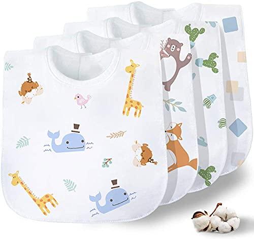 Gudodle Babero babero de dentición para bebé, súper absorbente y suave para babear y dentición niños y niñas, paquete de 4