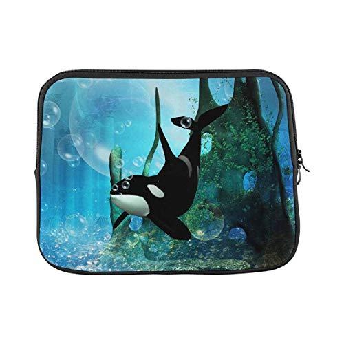 INTERESTPRINT Laptop Sleeve Wonderful Orca in Fantasy Underwater World Notebook Neoprene Pouch Case Bag 17 Inch 17.3 Inch
