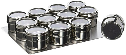 Soho Spices Set de saupoudreurs pour épices aimantés avec socle en inox 12 pièces 6,5 x 33 x 24,6 cm