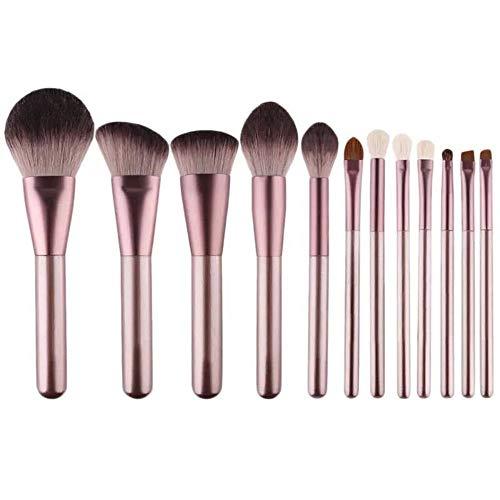 HFDXG Lot de 12 pinceaux de maquillage professionnels pour fond de teint, blush, anti-cernes, yeux avec sac de rangement, Peluche, violet, 12 Pcs(Clot