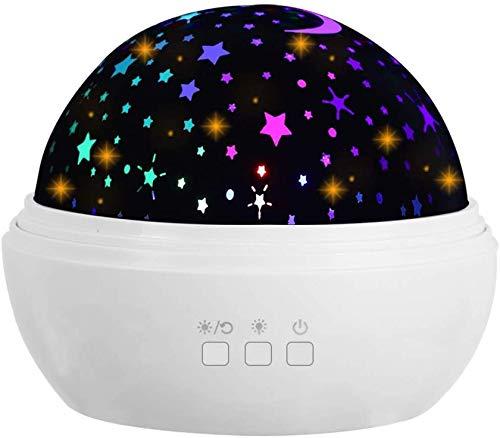 Preisvergleich Produktbild JBonest Nachtlicht-Projektor,  3 Filme,  Projektionslampe,  360 Grad drehbar,  8 Farbmodi,  Laterne mit USB-Kabel für Baby,  Kinderzimmer,  Nachttisch,  Weiß
