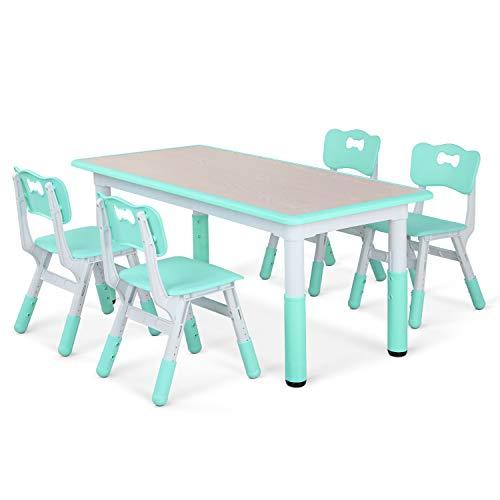 LAZY BUDDY Kindertisch mit 4 Stühlen, Kindertischgruppe Plastik, Höhenverstellbar Zeichenbrett Holz Table für Kinder von 2-10 Jahren (Minzgrün)