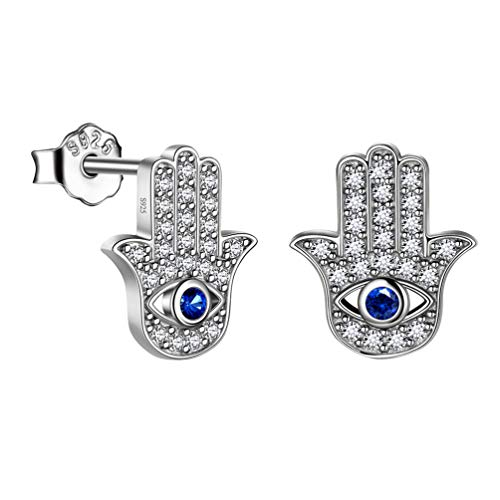 Mens Blue Evil Eye Hamsa Hand of Fatima Earrings Stud 925 Sterling Silver Women Hamsa Hand with Evil Eye Stud Earrings Post Jewellery Gift FE0093W