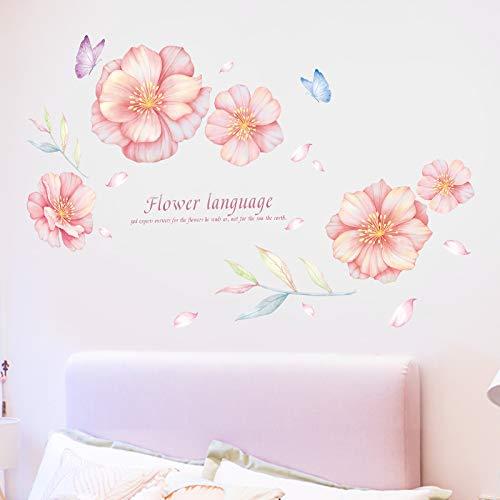 Roze Bloemen Behang Zelfklevend Meisje Slaapkamer Warm Muur Stickers Woonkamer Tv Achtergrond Wanddecoratie Muurstickers