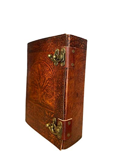600 pages large tree of life journal, Leather Journal Diary, Embossed Large Tree of Notebook, Writing Leather Diary,Handmade Leather Journal, handmade leather grimoire, witches journal, writing leather notebook 7 x 10 (office product)