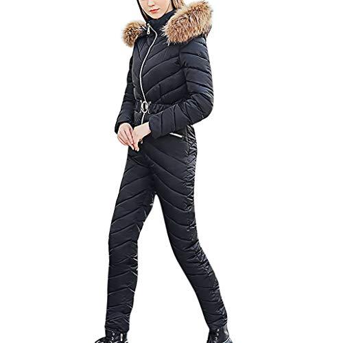 LOPILY Damen Schneeanzug All in One Skianzug Einteiliger Snowboardinganzug Winter Jumpsuit Extrem Warm mit Kunstfellkapuze Skiijacke Verdichtete Winterjacke Kapuzenjacke für Skifahren