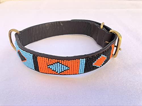 Desconocido Conjunto Collar y Correo Perro Grande Cuero Auténtico y Abalorios. Artesanía Tribu Masai, Kenia. Ultra Resistente.