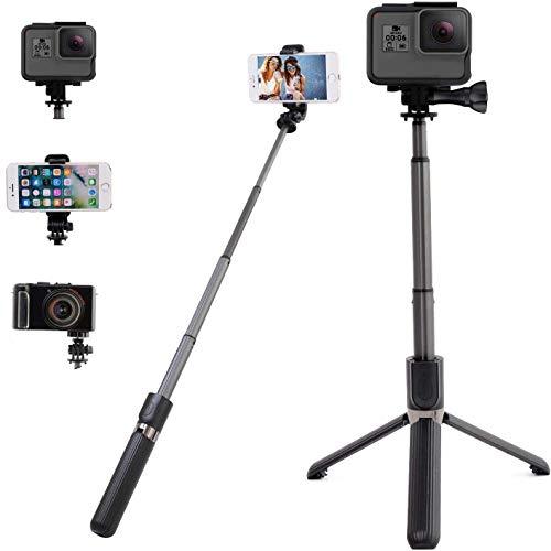 HYR+ GoPro 自撮り棒 セルカ棒 軽量 アルミ製 iPhone Android Bluetooth 無線 三脚/一脚 兼用 6段階伸縮 360度回転 ビデオカメラ デジカメ ゴープロ hero7 8 リモコン シャッター ワイヤレス テレワーク youtube動画撮影