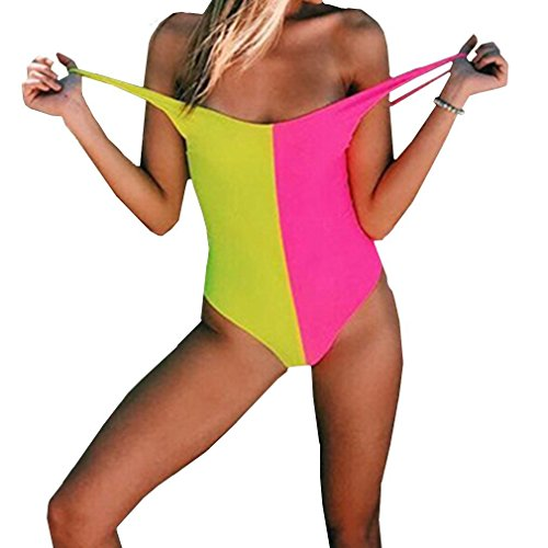 MOLFROA Women's Sexy Low Cut Backless Two-Color Contrast Color Teens Stretch Monokini One Piece Swimsuits Swimwear (L,Rose red-Yellow)