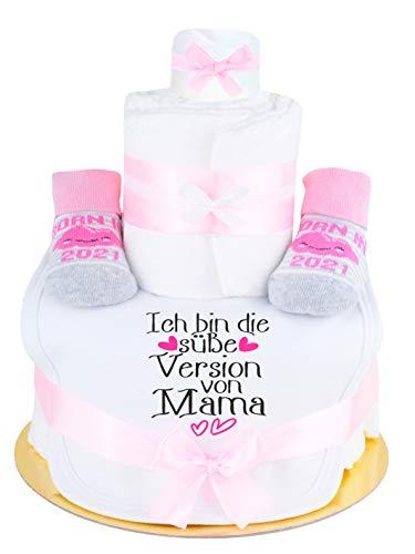 Trend Mama Sprüche Windeltorte rosa/pink Mädchen - Babysocken mit Print -BORN IN 2021+handbedrucktes Lätzchen mit Spruch- ICH BIN DIE SÜßE VERSION VON MAMA