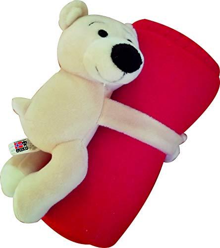 Manta polar Infantil con osito, EKEKO POLAR BEAR WITH KIDS BLANKET. Oso con cierre tipo adherente en las manitas. (Rojo)