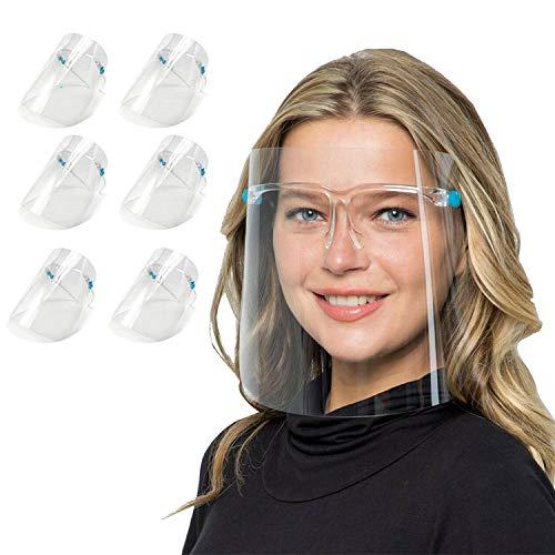 Pezzi di Visiera Trasparente Antiappannamento Anti Olio a Prova di Schizzi di Sicurezza Occhiali,Face_Shield_Visiere (Con 12 visiere e 6 Colore montature per occhiali) (Ordinario)