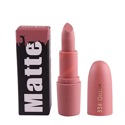 Fulltime® Rouge à lèvres,Miss Rose Hydratant Matte Lipstick Longue Durée Imperméable Lipstick 18 Couleur (33#)
