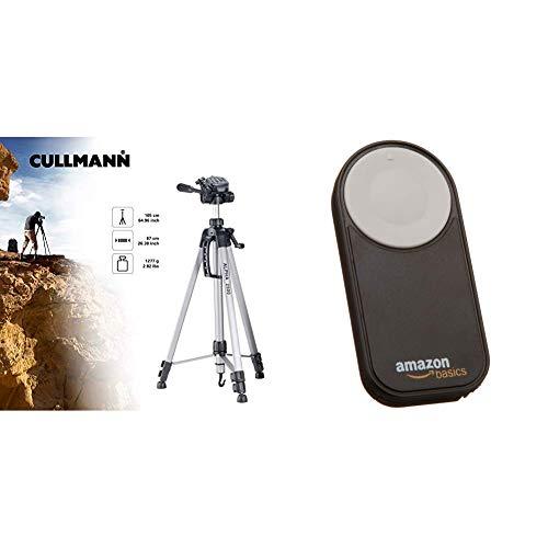 Cullmann Alpha 2500 Stativ mit 3-Wege-Kopf (2 Auszüge, Gewicht 1277g, Tragfähigkeit 2,5 kg, 165cm Höhe, Packmaß 67cm) & Amazon Basics Fernauslöser