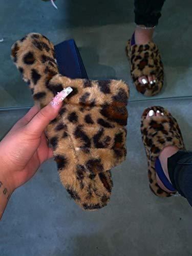YYFF Zapatillas casa Hombre,Zapatillas de Piel de Gran tamaño, Sandalias Gruesas para Exteriores-Leopard_40,Sandalias Verano Antideslizante