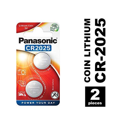 Panasonic CR2025 Pila botón de litio no-recargable, 3V, 165 mAh, Paquete de 2...