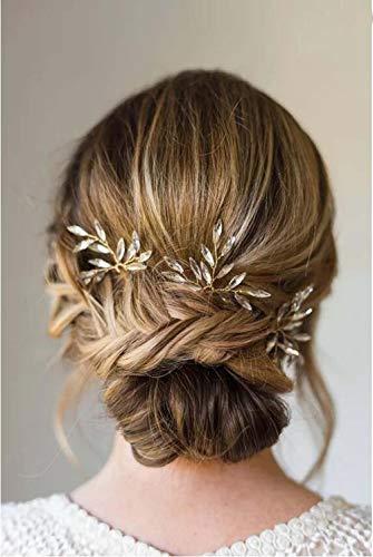 Simsly Horquillas para el pelo de boda con cristal dorado para novias y damas de honor (3 unidades), color dorado