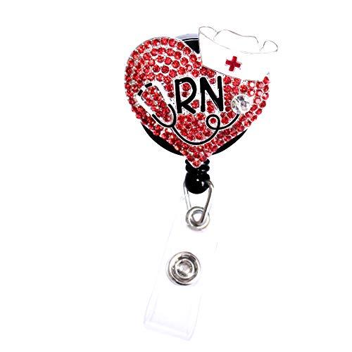 1 Pcs Red Heart Nurse Retractable Badge Holder Reel Clip, RN Nurse Gifts for Women, Nurse Badge Reels, Perfect Nurse Graduation Gift, Id Name Tag Cute Funny Nursing Badges Alligator Clips for Nurses