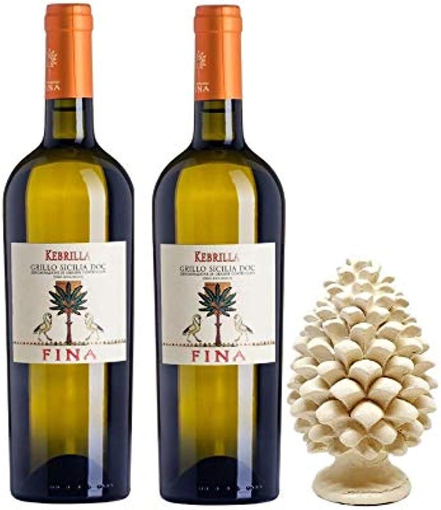 Sicilia bedda - cantine fina - 2 bottiglie di vino bianco kebrilla, piu` pigna siciliana in ceramica 12 cm