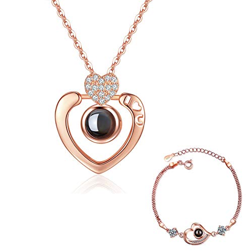 Collar dama Collar I Love You Collar Dale a tu vida Compañero 100 idiomas'I Love You' En Ágata Colgante Love Memory Clavícula Collar corto (Rose gold heart shape 2)