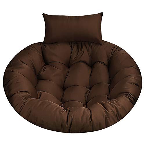 LIUSU Cojines para sillas con Cesta Colgante, cómodas Almohadillas para sillas con Forma de Huevo Colgantes con Almohada, cojín para Silla oscilante Suave Agradable para la Piel, marrón, 105 × 105 cm