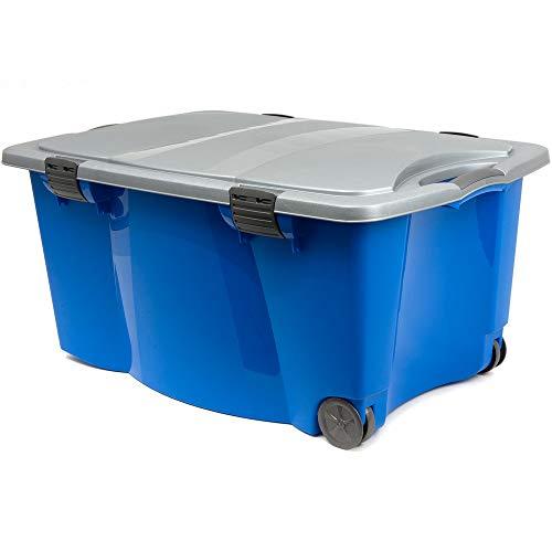 Grande boîte plastique de rangement 170l avec roulettes