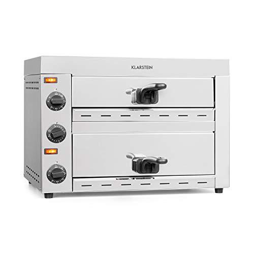 Klarstein Vesuvio II Pro Pizzaofen Gastro, 2260 Watt, 2 Kammern, 360 x 330 mm Backfläche, Temperatur bis zu 300 °C, Krümelschubladen, Edelstahl, Pizza Backofen, für Brot und Backwaren, silber