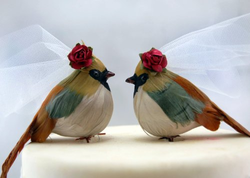 Country Cardinal cake topper: rustico Bride and Bride Gay & Lesbian Love Birds wedding cake topper