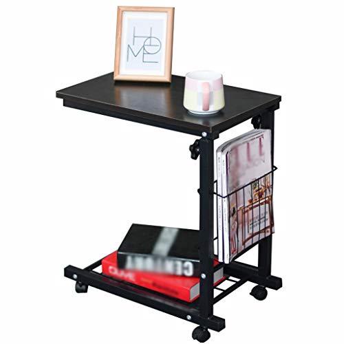 Overbedtafel met Opslag, Sofa Side End Nachtkastje Op Wielen, Laptop Bureaustandaard Hoogte Verstelbaar C-vormige Voedselbak (Color : E)