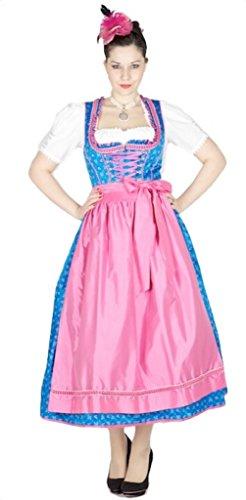 Krüger 10100 Manufaktur Dirndl 85er blau pink Size 42