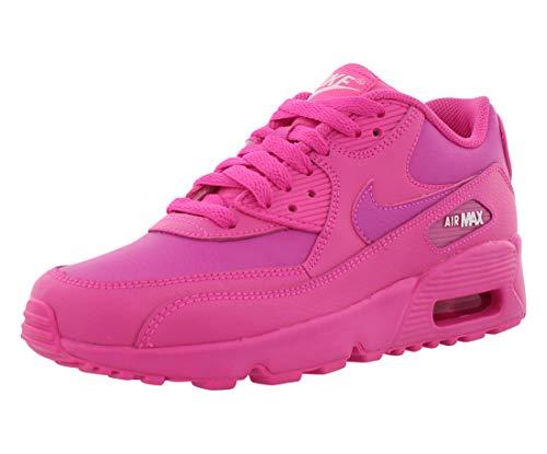 Nike 833376-603: Big Kids Air Max 90 Laser Fuchsia/White Leather Sneakers (6 M US Big Kid)