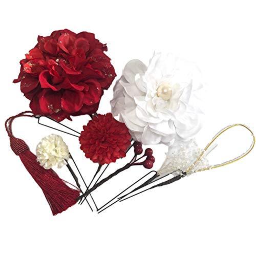 【J's select】花 フラワー 髪飾り 8点セット 和装 結婚式 ウェディング 成人式 卒業式 着物 袴に (No.13 赤ダリア)