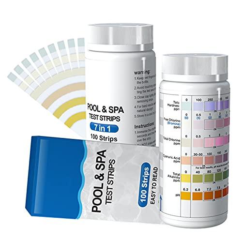 100 Stück Pool Tester Wassertester, 7 IN 1 Poolwasser Teststreifen Spa Whirlpool Teststreifen für PH-Wert, freies Chlor, Gesamthärte, Brom, Gesamtchlor, Cyanursäure, Gesamtalkalität