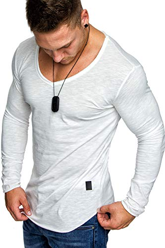 Amaci&Sons Oversize Herren Longsleeve Vintage Sweatshirt V-Neck Basic V-Ausschnitt Shirt 6060 Weiß XL