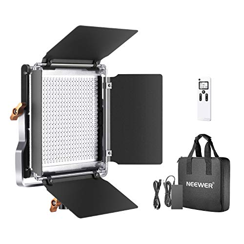 Neewer Lámpara de vídeo, 2,4 G, 480 ledes, Regulable, Panel LED Bicolor, Pantalla LCD y Mando a Distancia inalámbrico 2,4 G, para fotografía de Productos o Estudio de vídeo