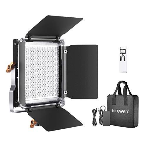 Neewer Lámpara de vídeo, 2,4 G, 480 ledes, Regulable, Panel LED Bicolor, Pantalla LCD y Mando a Distancia inalámbrico 2,4 G, para fotografía de Productos o Estudio de vídeo